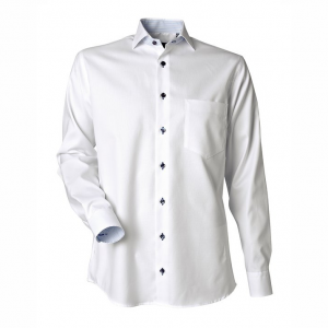 Men's Shirt, White Piqué with Blue-White Contrast, Regular Cut