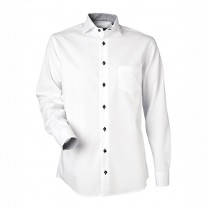 Men's Shirt, White with Black and White Contrast, Regular Cut