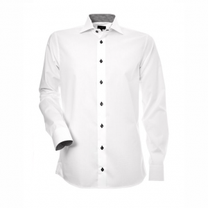 Men's Shirt, White with Black and White Contrast, Slim Cut