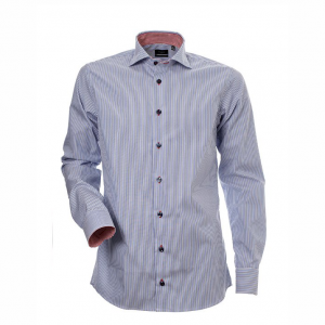 Men's shirt, Blue-white stripe with contrast, Slim Cut