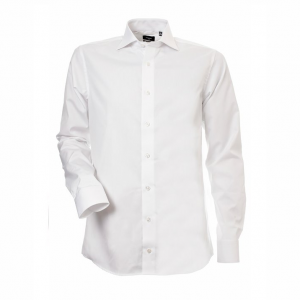 Men's Shirt, White Poplin, Slim Cut