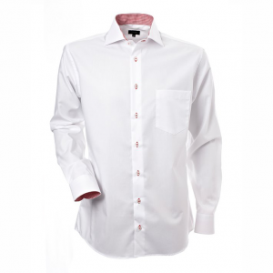 Men's Shirt, White with Red-White Contrast, Regular Cut