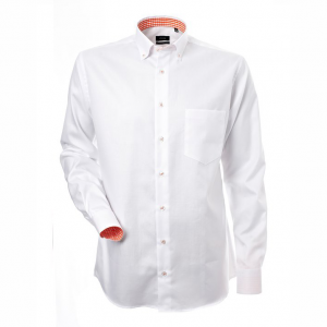 Men's shirt, White oxford with orange contrast, Regular Cut