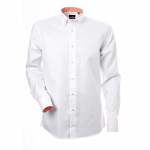 Men's shirt, White oxford with orange contrast, Slim Cut