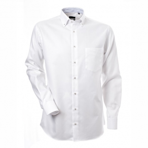 Men's shirt, White oxford with blue contrast, Regular Cut