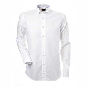 Men's shirt, White oxford with blue contrast, Slim Cut