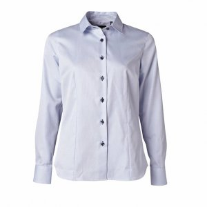 Women's Shirt, Light blue pique with blue-white contrast, Tailor Cut