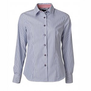 Women's shirt Blue-white stripe with contrast, Tailor Cut
